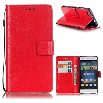 Embossing Butterfly Flower Leather Wallet Case for Huawei P8 Lite P8lite - Red