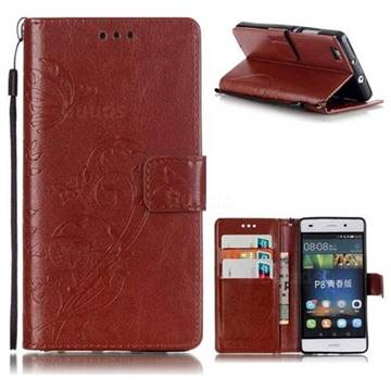 Embossing Butterfly Flower Leather Wallet Case for Huawei P8 Lite P8lite - Brown