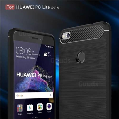 Luxury Carbon Fiber Brushed Wire Drawing Silicone TPU Back Cover for Huawei P8 Lite 2017 / P9 Honor 8 Nova Lite (Black)