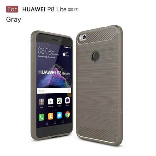Luxury Carbon Fiber Brushed Wire Drawing Silicone TPU Back Cover for Huawei P8 Lite 2017 / P9 Honor 8 Nova Lite (Gray)