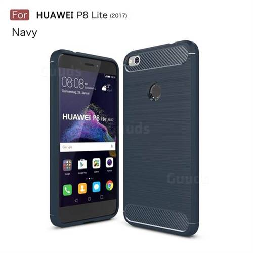 Luxury Carbon Fiber Brushed Wire Drawing Silicone TPU Back Cover for Huawei P8 Lite 2017 / P9 Honor 8 Nova Lite (Navy)