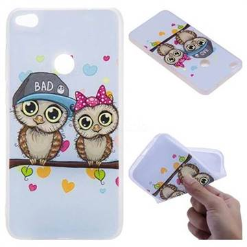 Couple Owls 3D Relief Matte Soft TPU Back Cover for Huawei P8 Lite 2017 / P9 Honor 8 Nova Lite