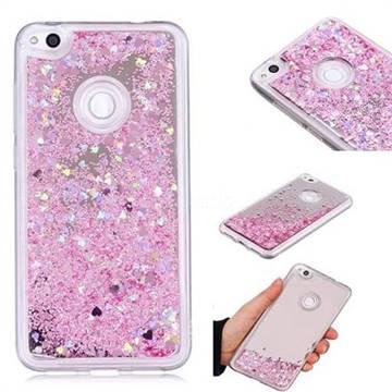 Glitter Sand Mirror Quicksand Dynamic Liquid Star TPU Case for Huawei P8 Lite 2017 / P9 Honor 8 Nova Lite - Cherry Pink
