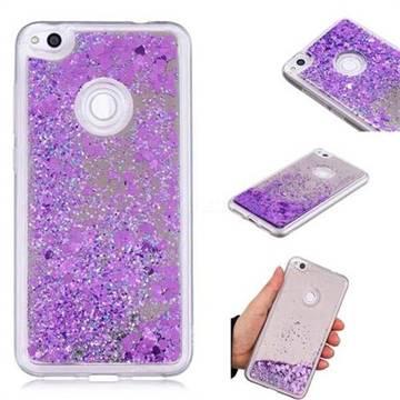 Glitter Sand Mirror Quicksand Dynamic Liquid Star TPU Case for Huawei P8 Lite 2017 / P9 Honor 8 Nova Lite - Purple
