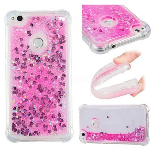 Dynamic Liquid Glitter Sand Quicksand TPU Case for Huawei P8 Lite 2017 / P9 Honor 8 Nova Lite - Pink Love Heart