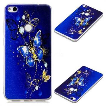 Gold and Blue Butterfly Super Clear Soft TPU Back Cover for Huawei P8 Lite 2017 / P9 Honor 8 Nova Lite