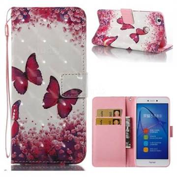 Rose Butterfly 3D Painted Leather Wallet Case for Huawei P8 Lite 2017 / P9 Honor 8 Nova Lite
