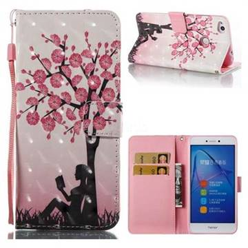 Plum Girl 3D Painted Leather Wallet Case for Huawei P8 Lite 2017 / P9 Honor 8 Nova Lite