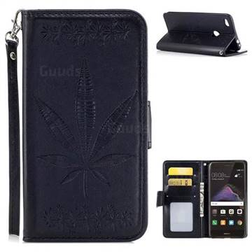 Intricate Embossing Maple Leather Wallet Case for Huawei P8 Lite 2017 / P9 Honor 8 Nova Lite - Black