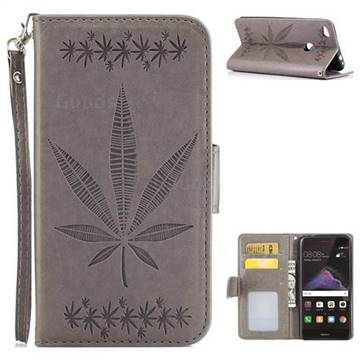 Intricate Embossing Maple Leather Wallet Case for Huawei P8 Lite 2017 / P9 Honor 8 Nova Lite - Gray