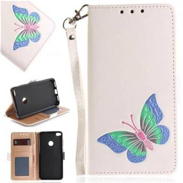 Imprint Embossing Butterfly Leather Wallet Case for Huawei P8 Lite 2017 / P9 Honor 8 Nova Lite - White