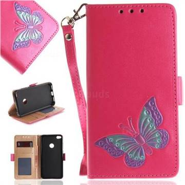 Imprint Embossing Butterfly Leather Wallet Case for Huawei P8 Lite 2017 / P9 Honor 8 Nova Lite - Rose Red