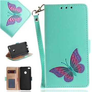 Imprint Embossing Butterfly Leather Wallet Case for Huawei P8 Lite 2017 / P9 Honor 8 Nova Lite - Mint Green