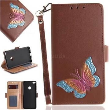 Imprint Embossing Butterfly Leather Wallet Case for Huawei P8 Lite 2017 / P9 Honor 8 Nova Lite - Brown
