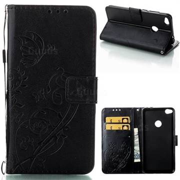 Embossing Butterfly Flower Leather Wallet Case for Huawei P8 Lite 2017 / P9 Honor 8 Nova Lite - Black