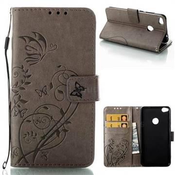 Embossing Butterfly Flower Leather Wallet Case for Huawei P8 Lite 2017 / P9 Honor 8 Nova Lite - Grey