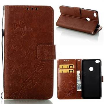 Embossing Butterfly Flower Leather Wallet Case for Huawei P8 Lite 2017 / P9 Honor 8 Nova Lite - Brown