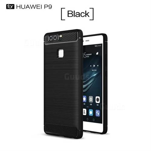 Luxury Carbon Fiber Brushed Wire Drawing Silicone TPU Back Cover for Huawei P9 (Black)