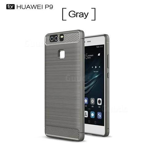 Luxury Carbon Fiber Brushed Wire Drawing Silicone TPU Back Cover for Huawei P9 (Gray)