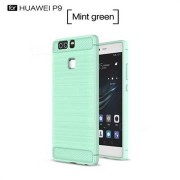 Luxury Carbon Fiber Brushed Wire Drawing Silicone TPU Back Cover for Huawei P9 (Mint Green)