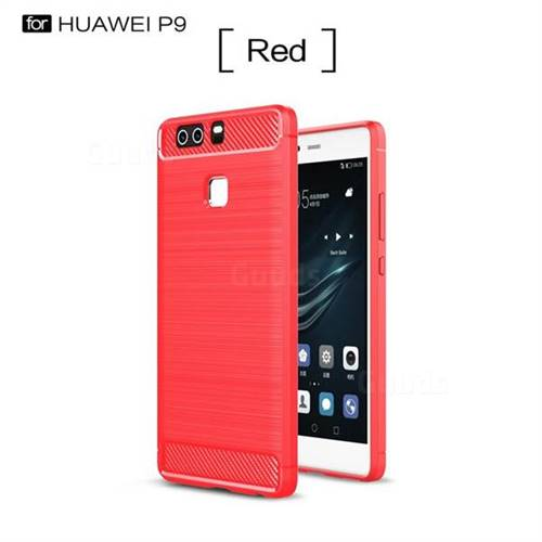 Luxury Carbon Fiber Brushed Wire Drawing Silicone TPU Back Cover for Huawei P9 (Red)