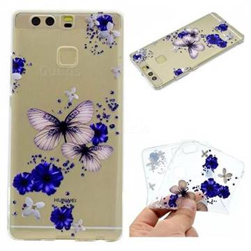 Blue Butterfly Flowers Super Clear Soft TPU Back Cover for Huawei P9