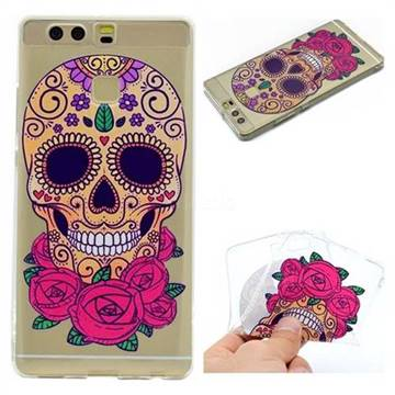 Skeleton Flower Super Clear Soft TPU Back Cover for Huawei P9
