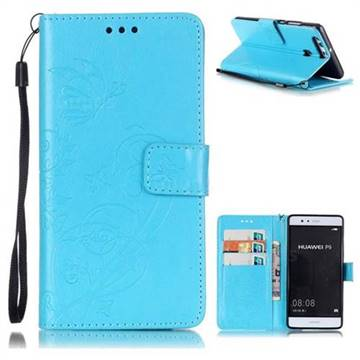 Embossing Butterfly Flower Leather Wallet Case for Huawei P9 - Blue