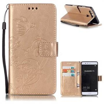 Embossing Butterfly Flower Leather Wallet Case for Huawei P9 - Champagne