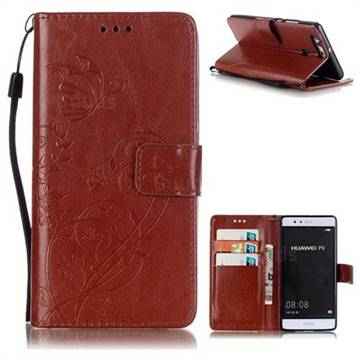 Embossing Butterfly Flower Leather Wallet Case for Huawei P9 - Brown