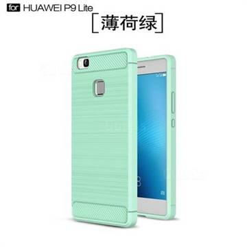 Luxury Carbon Fiber Brushed Wire Drawing Silicone TPU Back Cover for Huawei P9 Lite G9 Lite (Mint Green)