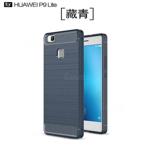 Luxury Carbon Fiber Brushed Wire Drawing Silicone TPU Back Cover for Huawei P9 Lite G9 Lite (Navy)