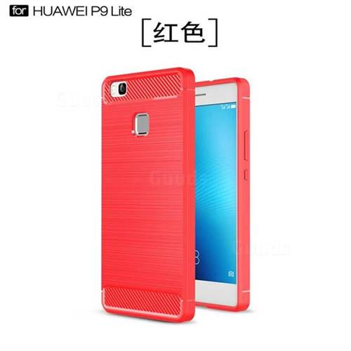 Luxury Carbon Fiber Brushed Wire Drawing Silicone TPU Back Cover for Huawei P9 Lite G9 Lite (Red)