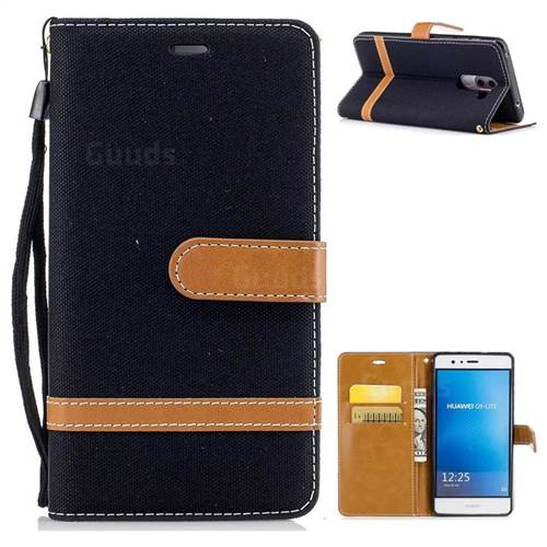 Jeans Cowboy Denim Leather Wallet Case for Huawei P9 Lite G9 Lite - Black