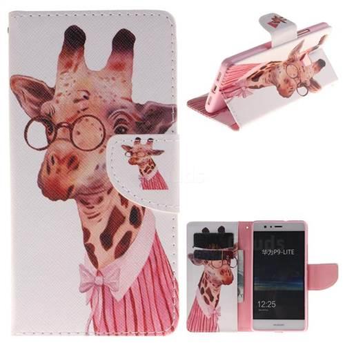 Pink Giraffe PU Leather Wallet Case for Huawei P9 Lite G9 Lite