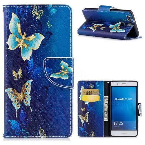 Golden Butterflies Leather Wallet Case for Huawei P9 Lite G9 Lite