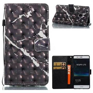 Black Marble 3D Painted Leather Wallet Case for Huawei P9 Lite G9 Lite