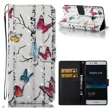 Colored Butterflies 3D Painted Leather Wallet Case for Huawei P9 Lite G9 Lite