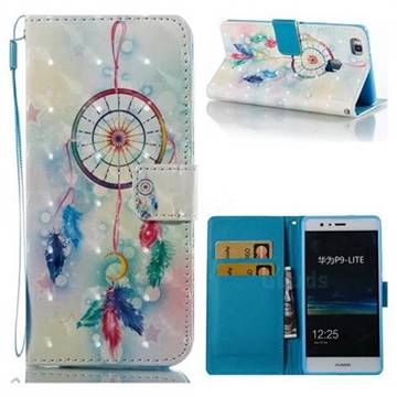 Feather Wind Chimes 3D Painted Leather Wallet Case for Huawei P9 Lite G9 Lite