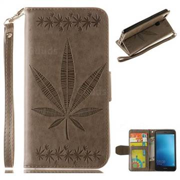 Intricate Embossing Maple Leather Wallet Case for Huawei P9 Lite G9 Lite - Gray