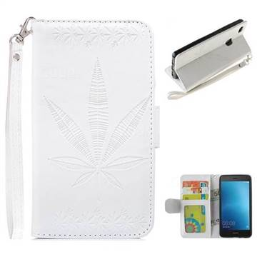 Intricate Embossing Maple Leather Wallet Case for Huawei P9 Lite G9 Lite - White