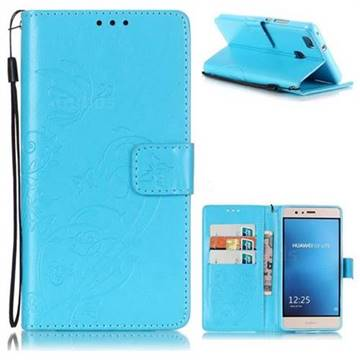 Embossing Butterfly Flower Leather Wallet Case for Huawei P9 Lite G9 Lite - Blue