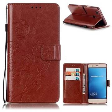 Embossing Butterfly Flower Leather Wallet Case for Huawei P9 Lite G9 Lite - Brown