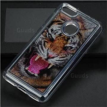 Tiger Glassy Glitter Quicksand Dynamic Liquid Soft Phone Case for Huawei P9 Lite Mini (Y6 Pro 2017)