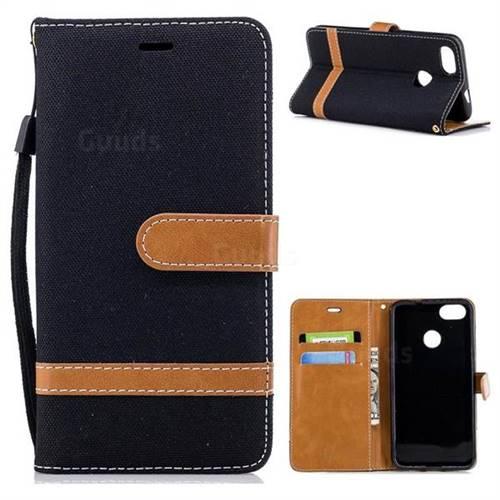 Jeans Cowboy Denim Leather Wallet Case for Huawei P9 Lite Mini (Y6 Pro 2017) - Black