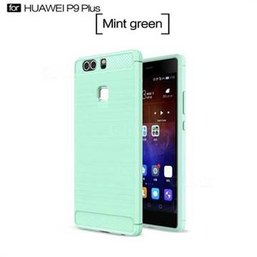 Luxury Carbon Fiber Brushed Wire Drawing Silicone TPU Back Cover for Huawei P9 Plus P9plus (Mint Green)