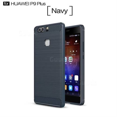 Luxury Carbon Fiber Brushed Wire Drawing Silicone TPU Back Cover for Huawei P9 Plus P9plus (Navy)