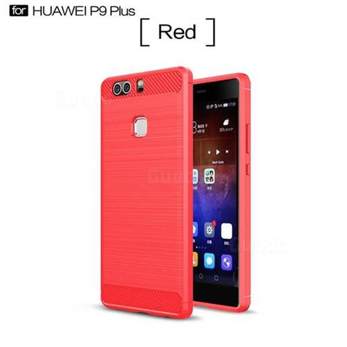 Luxury Carbon Fiber Brushed Wire Drawing Silicone TPU Back Cover for Huawei P9 Plus P9plus (Red)
