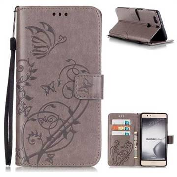 Embossing Butterfly Flower Leather Wallet Case for Huawei P9 Plus P9plus - Grey