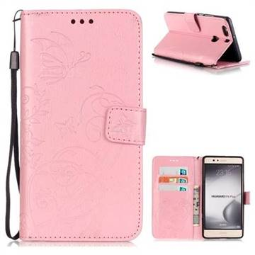 Embossing Butterfly Flower Leather Wallet Case for Huawei P9 Plus P9plus - Pink